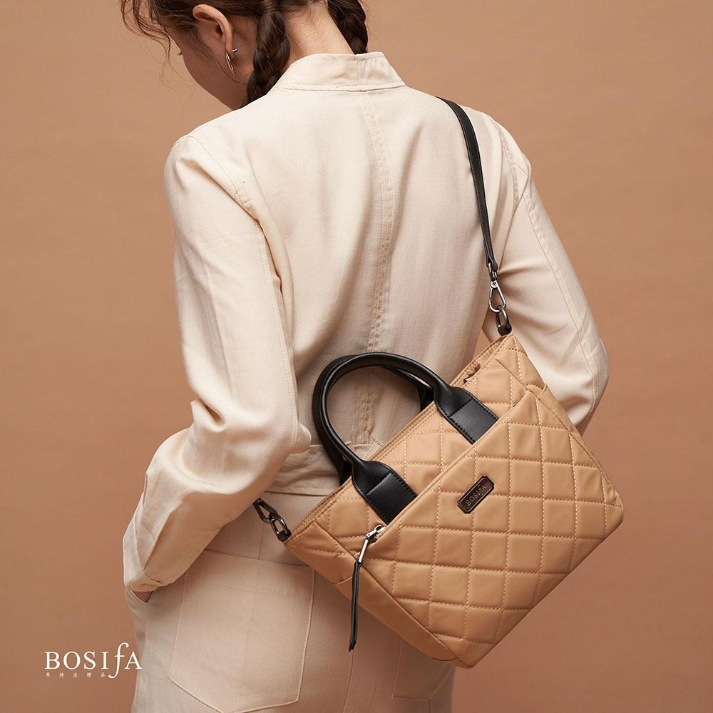 【BOSIfA】亮彩菱格紋手提包(沙金杏182001BN)(暢貨出清)