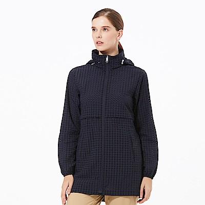 【HAKERS 哈克士】女 抗UV防潑格紋長版外套-深軍藍