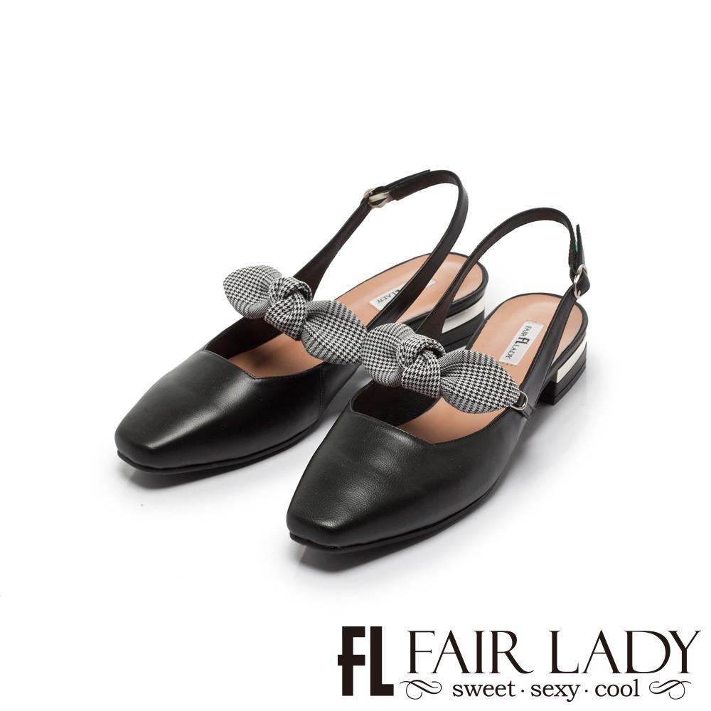 Fair Lady Hi Spring 格紋蝴蝶結瑪莉珍方頭低跟涼鞋 黑