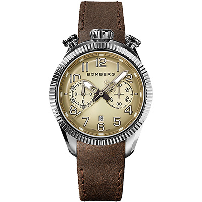 BOMBERG 炸彈錶 BB-68 系列飛行計時碼錶-煙燻灰x咖啡/44mm