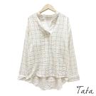 前短後長撞色格紋襯衫 TATA-F