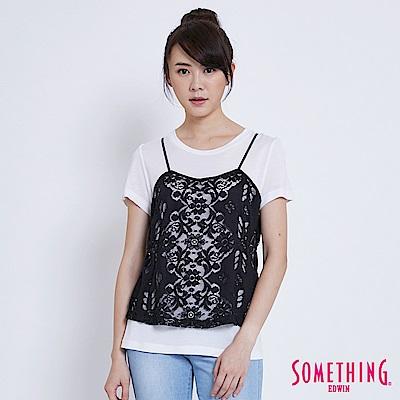 SOMETHING 針織蕾絲假倆件短袖T恤-女-白色