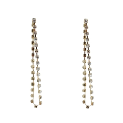 Prisme 美國時尚飾品 華麗垂墜水鑽 金色耳環