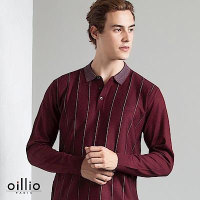 歐洲貴族 oillio 長袖線衫 直立條紋 POLO領款 紅色