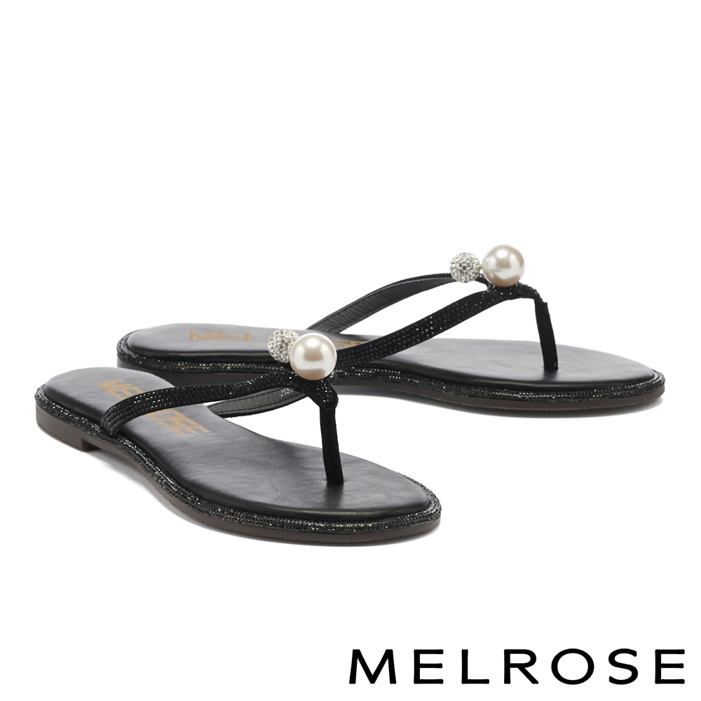 拖鞋 MELROSE 高雅質感珍珠晶鑽人字低跟拖鞋-黑
