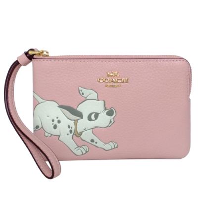 COACH x Disney粉紅全皮101忠狗拉鍊萬用手拿包