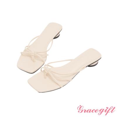 Grace gift-細帶夾腳圓低跟涼拖鞋 杏