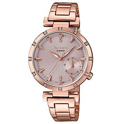 SHEEN優雅智慧簡約耀眼施華洛世奇指針腕錶(SHE-4051PG-4)蜜桃金32mm