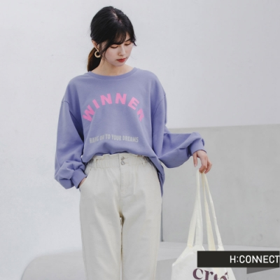 H:CONNECT 韓國品牌 女裝 -活力文字圖印落肩上衣-紫