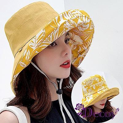 Decoy 花葉之美 雙面加大防曬遮陽漁夫帽 黃