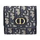 Dior 30 MONTAIGNE LOTUS經典OBLIQUE緹花布暗釦短夾(藍) product thumbnail 1