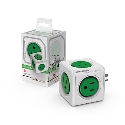 2入-【PowerCube】魔術方塊擴充插座(綠色) 綠→5面插座、3孔