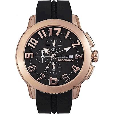 Tendence 天勢 圓弧系列計時手錶-玫瑰金框x黑/45mm(TY016004)