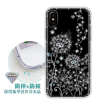iPhone Xs / X 5.8吋 浪漫彩繪 水鑽空壓氣墊手機殼(風信子)