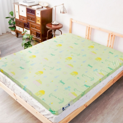 米夢家居-夢想家園-雙面精梳純棉-馬來西亞天然乳膠床墊5公分厚-單人加大3.5尺(青春綠)
