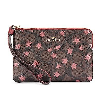 COACH 繁星點點滿版LOGO PVC皮革L型拉鍊手拿包-深咖/粉紅色