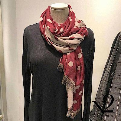 披肩圍巾 圓點點雙面雙色流蘇披肩圍巾(紅) N2