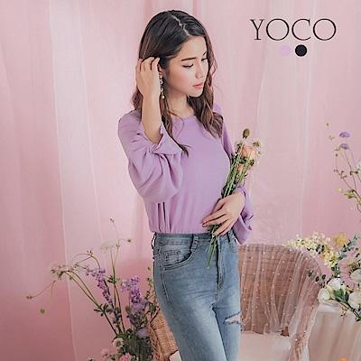 東京著衣-YOCO 多糖女孩打結澎袖後背勾針蕾絲針織上衣(共兩色)