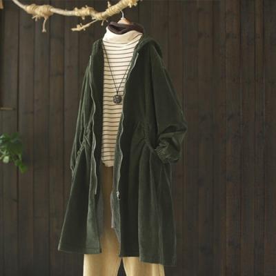 棉質寬鬆燈芯絨連帽加絨外套中長版風衣-設計所在