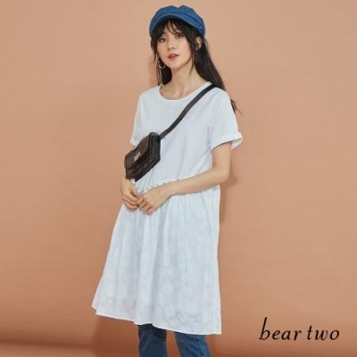beartwo-同色圓點裙襬洋裝-白