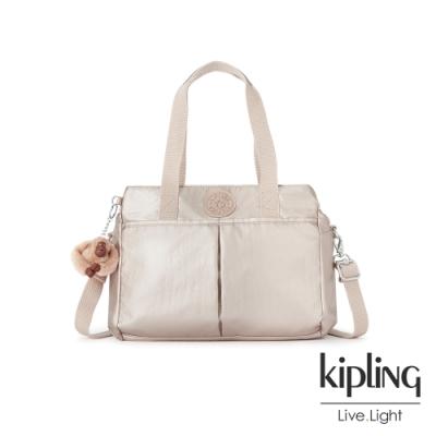 Kipling 金屬光玫瑰金大容量手提兩用包-KENZIE