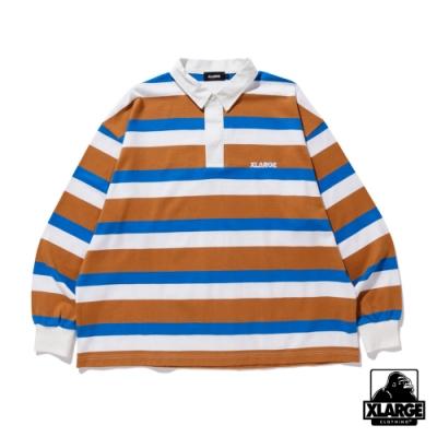 XLARGE RUGBY STRIPE SHIRT條紋長袖POLO衫-米