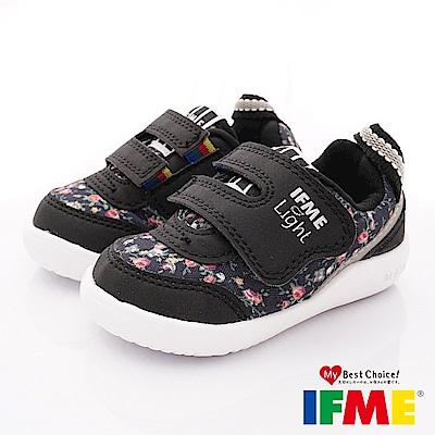 IFME健康機能鞋 超輕碎花學步款 EI70301黑(寶寶段)