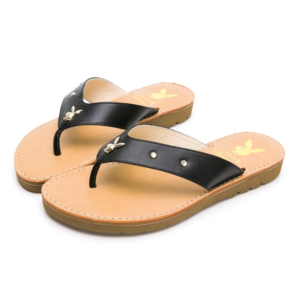 PLAYBOY 柔軟真皮V型寬帶修身涼拖鞋-黑-Y7321CC