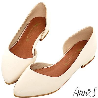Ann'S成熟高雅-金跟側空尖頭平底包鞋-米