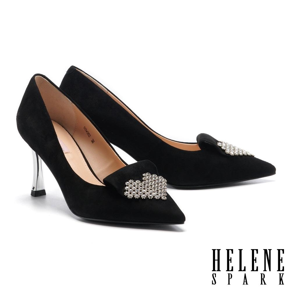 高跟鞋 HELENE SPARK 高尚奢華心型鑽釦尖頭高跟鞋-黑