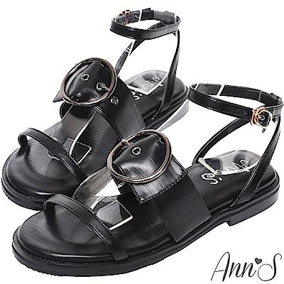 Ann'S率性街頭風-銀色大圓扣三帶平底涼鞋-黑