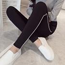 La Belleza素面鬆緊腰側邊拼接立體白色滾邊條紋彈性棉質內搭褲