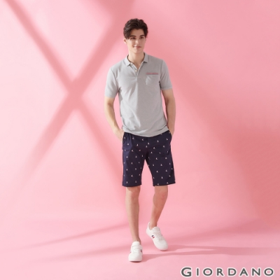 GIORDANO 男裝修身印花休閒短褲- 10 標誌海軍藍/標誌白