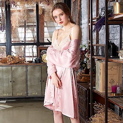 睡衣 彈力珍珠絲質性感連身睡衣+罩衫組(R89027-2粉)蕾妮塔塔