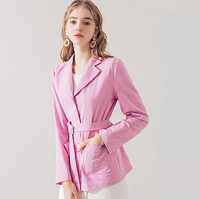 AIR SPACE 雙口袋輕棉麻西裝外套(附腰帶)(紫) @ Y!購物