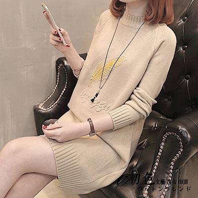 羽毛刺繡針織洋裝-共5色(F可選)    初色