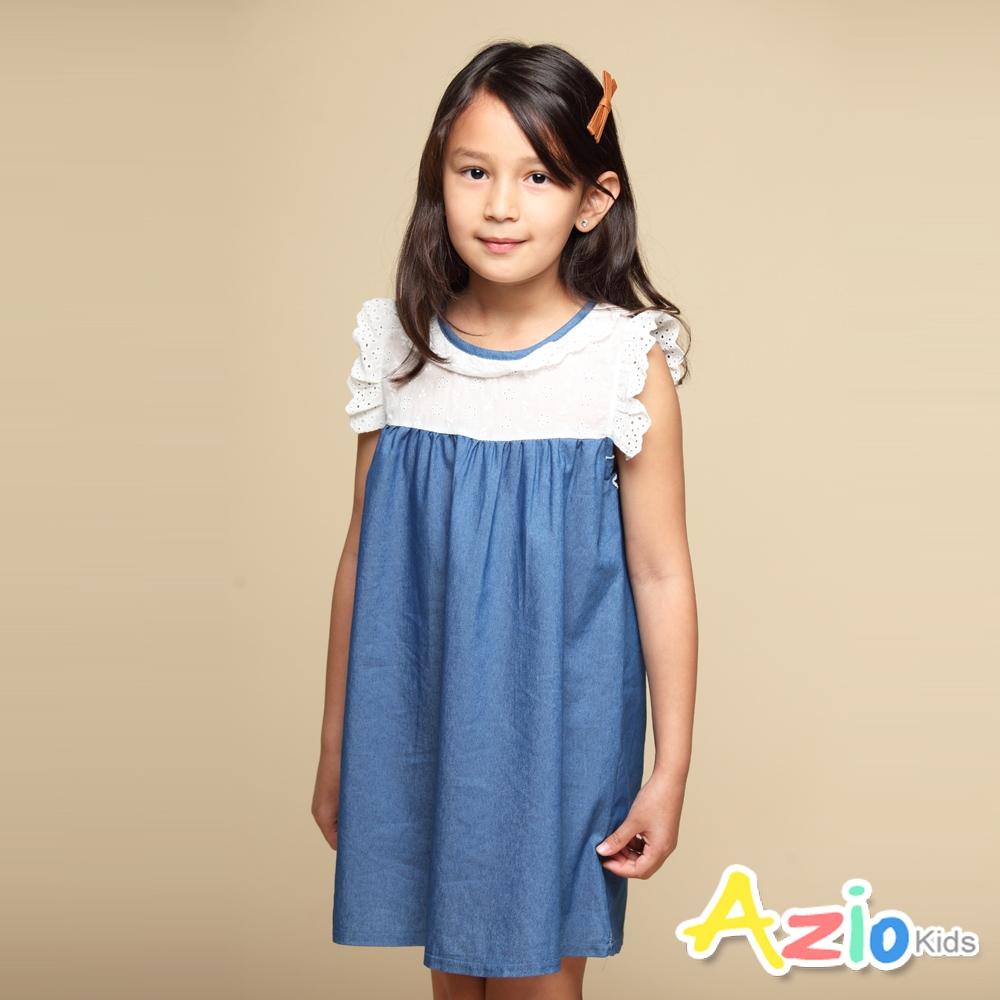 Azio Kids 女童 洋裝 領口袖口蕾絲造型藍色牛仔接片短袖洋裝(藍)