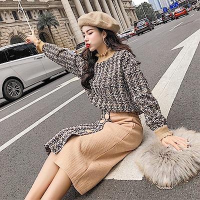 DABI 韓系圓領長袖格紋衣短裙半身裙套裝長袖裙裝