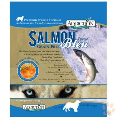 紐西蘭-ADDICTION自然癮食 野生藍鮭魚無穀犬寵食 20lbs(9kg) (購買二件贈送全家禮卷100元*1張)
