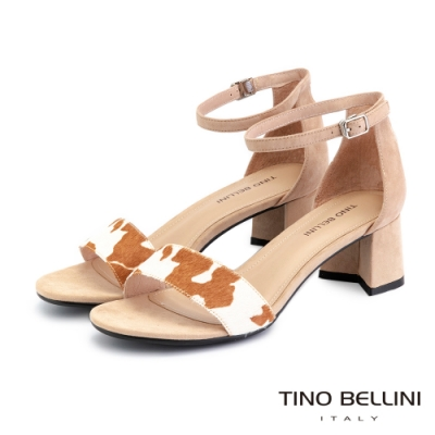 Tino Bellini馬毛乳牛紋後包中跟涼鞋_淺駝