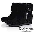 Keeley Ann 暖心冬季~反折絨毛楔型感短靴(黑色)