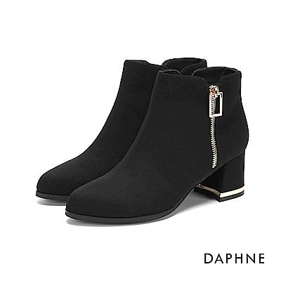 達芙妮DAPHNE 短靴-鏤空方框金屬裝飾粗跟金邊短靴-黑