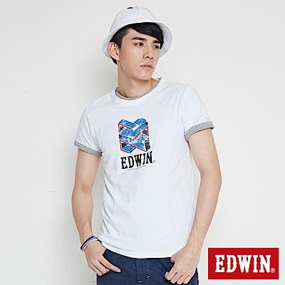 EDWIN 立體錯位圖形印花短袖T恤-男-白色