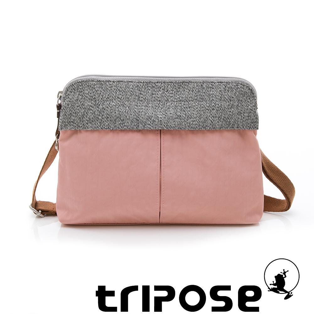 tripose 漫遊系列 岩紋x微皺尼龍貼身斜背包 淺粉
