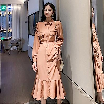 DABI 韓國風收腰襯衫復古長版繫帶魚尾長袖洋裝
