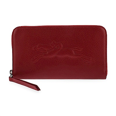 Longchamp Le Foulonne浮雕造型LOGO荔枝紋皮革拉鍊長夾-暗紅色