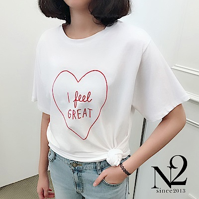 上衣 正韓愛心文字I FEEL GREAT彈性棉質短袖上衣 (白) N2