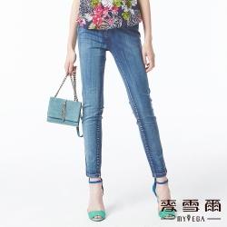 【麥雪爾】配色車縫線造型牛仔褲