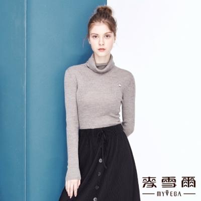 【麥雪爾】高領羅紋字母裝飾針織衫