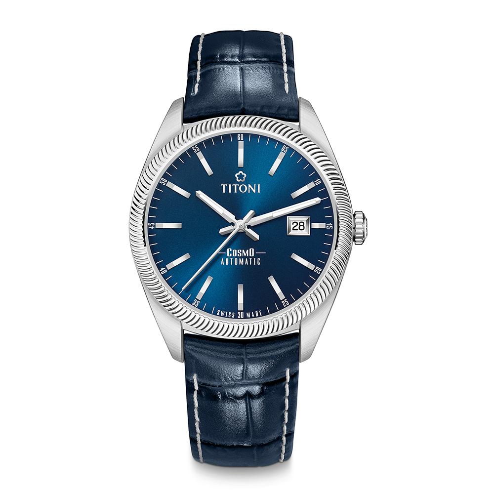 TITONI瑞士梅花錶 宇宙系列(878 S-ST-612)尊爵藍/皮帶/41mm